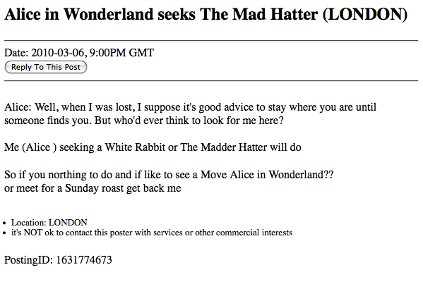 Craigslist Ad: Alice in Wonderland