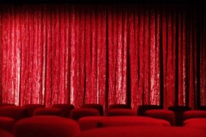 Red curtain at theater/cinema/kino