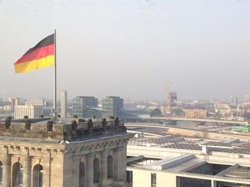 View from inside the Berlin Reichstag (Germany's flag)