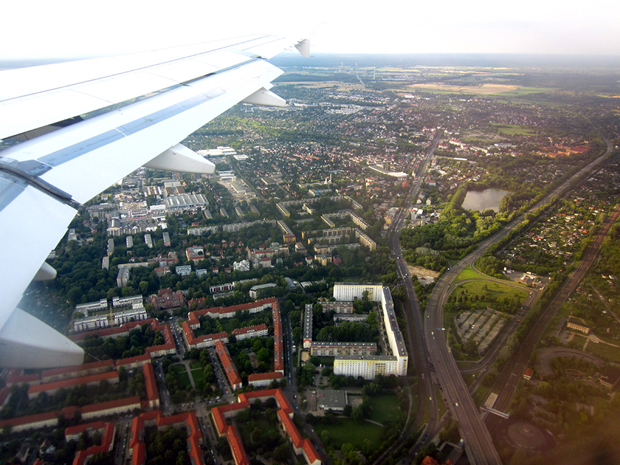Berlin from above - through airplane window