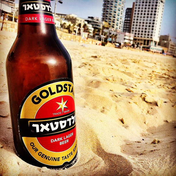Tel Aviv beach beer