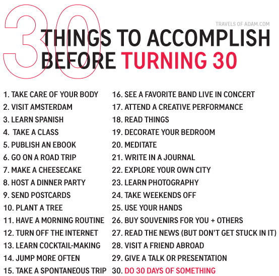Things To Accomplish Before Turning 30