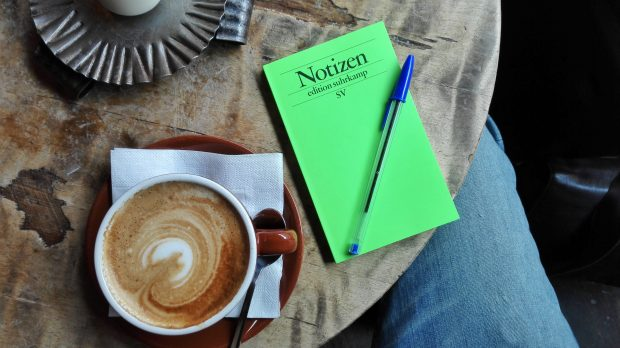 coffee with notebook
