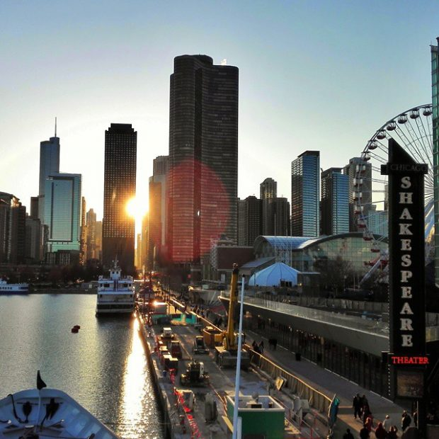 Sunset in Chicago at the pier