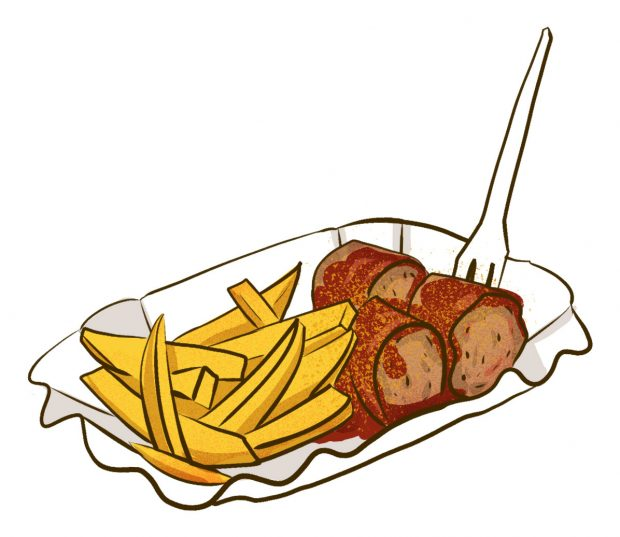 Currywurst mit pommes (Hamburg) - Meat & Potatoes - Dishes from 14 Cities Around the World