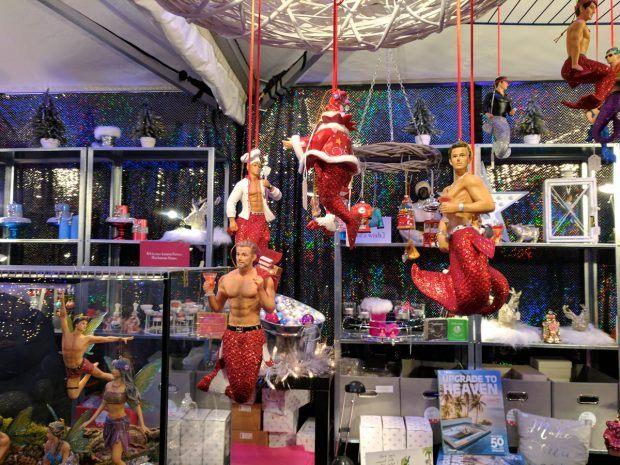Gay Mermen Christmas Ornaments - https://travelsofadam.com/2016/12/munich-pink-christmas/