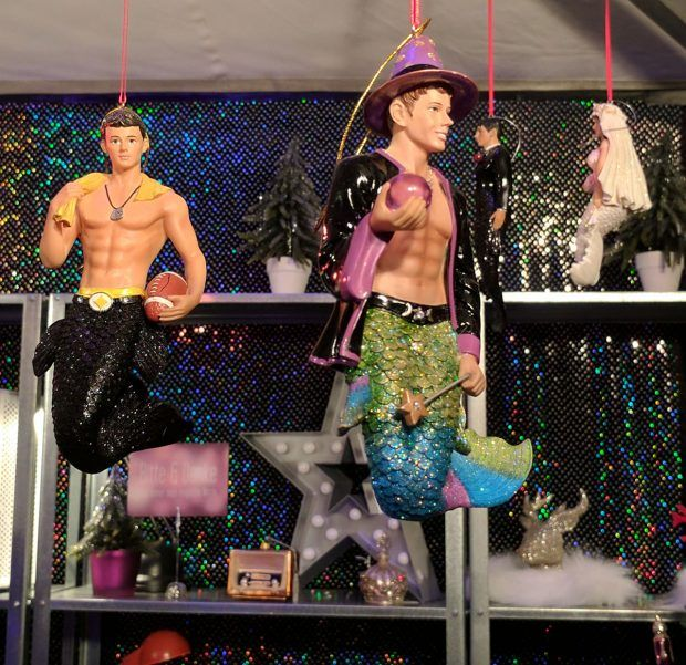Gay Mermen Christmas Ornaments - https://travelsofadam.com/2016/12/munich-pink-christmas/