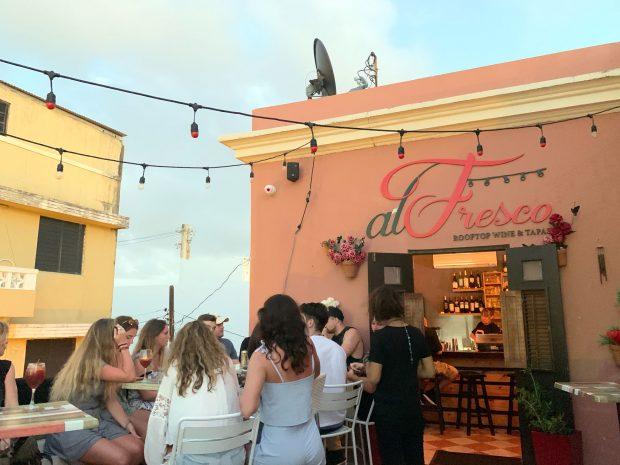 Rooftop bar in San Juan
